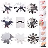 WOKOTO 9 Pieces Easy French Smile Line Gel Cutter Tool Nail Manicure Edge Trimmer French Tip Cutter Stainless Steel Nail Acrylic Tool DIY Plate Module for Nail Art Decoration