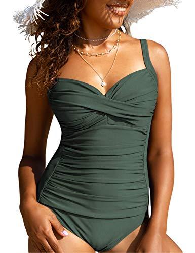 Hilor Trajes de baño de una pieza para mujer, estilo retro, estilo retro, Verde Ejército Oscuro, 6