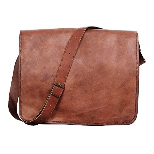 Laptop-Umhängetasche aus Leder, 45,7 cm, handgefertigt, für Damen & Herren, braun (Braun) - 1294