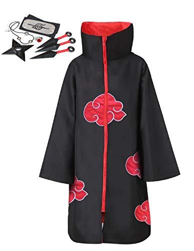 LOOVEE Anime Akatsuki/Uchiha Itachi Cosplay Akatsuki Umhang Mantel Akatsukikostüm Jacke Party Kostüm mit Stirnband Ring für Herren Damen Kinder Erwachsene