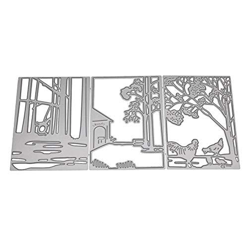 Happyhouse DIY Stanzformen Metall Prägung Schablonen Hühner Karbonstahl DIY Prägeschablone Grußkarte Stanzform Silber
