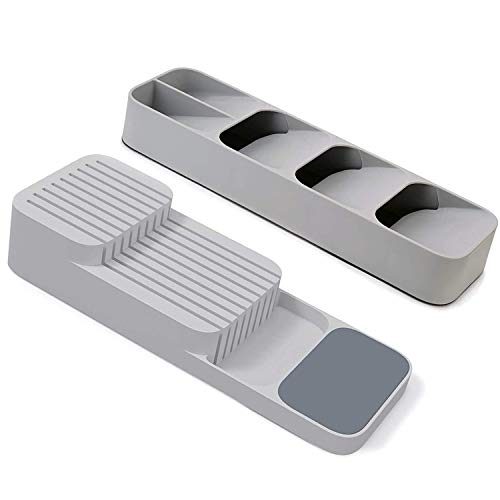 Moonbiffy 2PCS Kitchen Drawer Organizer Tray for Cutlery and Knives Plastic Cutlery Storage Box Knife Block Holder Drawer Knives Fork Spoons Cabinet Organizer Grey