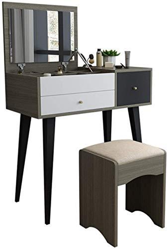 HLZY Escritorio de tocador para dormitorio decoración del hogar 2 en 1 escritorio de maquillaje multifuncional tocador moderno minimalista mesa de maquillaje taburete de maquillaje