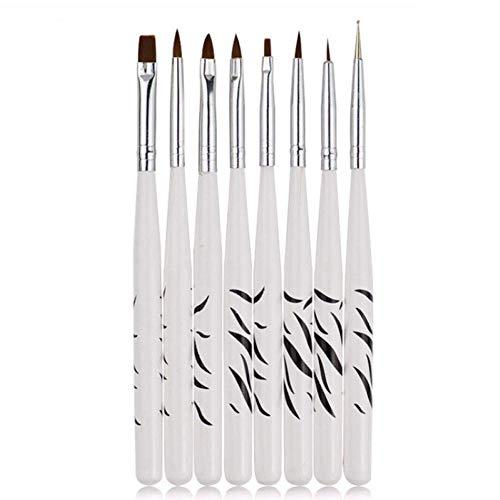 Acier Inoxydable rétractable 8 Pcs Professionnel Zèbre UV Gel Stylo Brosse Nail Art Acrylique 8 Taille Plat Brosse Stylo Dotting Dessin Peinture Salon Tool Set