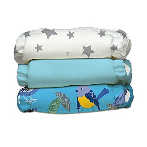 Charlie Banana Baby Fleece Reusable and Washable Cloth Diaper System, 3 Diaper and 6 Inserts, Little Twitter II, One Size