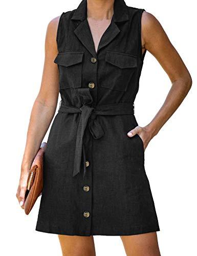 luvamia Women's Casual Belted Sleeveless V Neck Button Down Shirt Mini Dress Black Size Medium