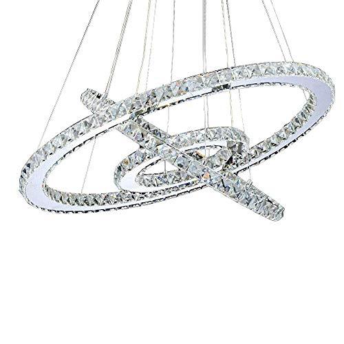 AUNEVN LED Pendelleuchte Kreativität 3-Ring Kristall Kronleuchter 72W Dimmbar mit Fernbedienung Decken Hängelampe Höhenverstellbar Modern Hängeleuchte für Wohnzimmer Esstisch Schlafzimmer Deckenlampe