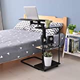 US Shipping,Overbed Table Bedside Multi-Purpose Sofa Side End Laptop Tables Computer Study Desk Breakfast Cart Stand with Wheels and Storage Shelf for Older Men Hospital Home (Black)
