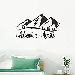 Adventure Awaits. Inspirational Quote Wall Decal. Peel and Stick Wall Decals, Colorful Vinyl Lettering with Arrow Wall Stickers, Adventure Quote Travel Wall Decal, DIY Decoration