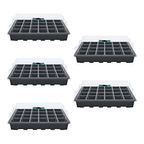 Semilleros de Germinacion , Richaa 5 Piezas Bandejas de Inicio de Semillas de Inicio de Plantas Ajustable Humedad con Cúpula y Base para Cultivo Germinación Siembra (24 Celdas)