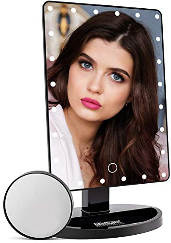 NEWSUMIT Espejo Maquillaje con luz 24 led - Espejo de Mesa con Organizador - Dimmer táctil - Aumentos 1X,10X- Espejo Cosmético Portable - Carga USB o Batería - 360º (Negro)