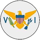 Decoración para tarta con diseño de bandera de las Islas Vírgenes (EE.UU.), redondo, círculo, 20 cm, cumpleaños, fiesta, celebración, evento