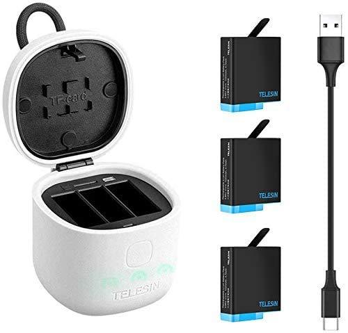 TELESIN Cargador de Batería para GoPro Hero 7 6 5 Black, Cargador de 3 Canales (Prueba de Agua) con Lector Tarjeta de Memoria SD, 3 Batería de Repuesto y Cable USB Tipo C (Cargador+3 Batería)