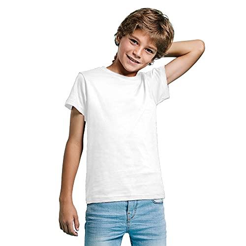 Camiseta de Colores Manga Corta 100% Algodón para niños - Camiseta Unisex Cuello Redondo, cómoda, Suave, Lisa y Elegante (Blanca, 7/8)