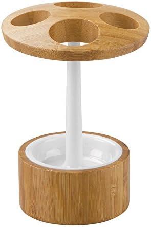 blanc et marron support aussi pour brosses /à dents /électriques accessoire de salle de bain en bambou et plastique InterDesign Formbu porte-brosse /à dent