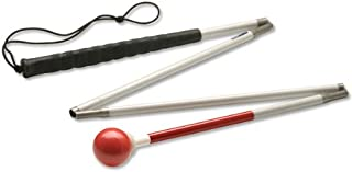 Ambutech Alum. 4-Sec. Folding Cane- Red Ball-54-in