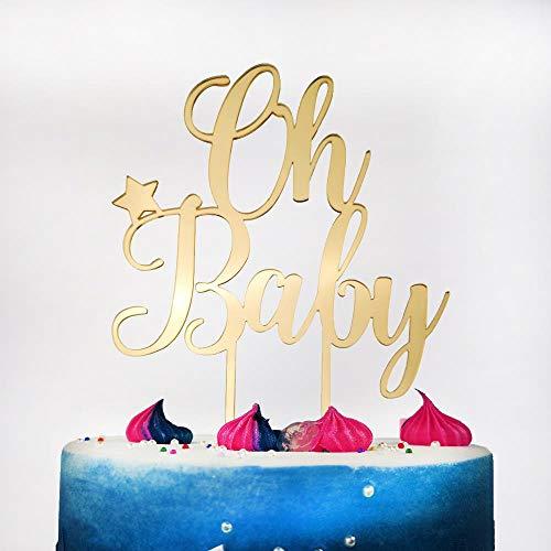 Yoin Oh Baby Taart Topper Voor Baby Douche, 1St Eerste Verjaardag Feest Taart Decoratie, Spiegel Goud/Zilver Acryl Taart Topper benodigdheden