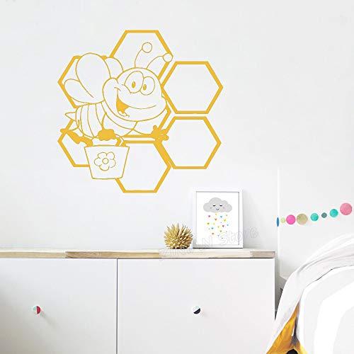 Mignon Abeille Miel Nid D'abeille Aile Pépinière Vinyle Stickers Muraux pour Chambres D'enfants Motif Art Décor Sticker Animaux Animaux Décoration 57x56cm