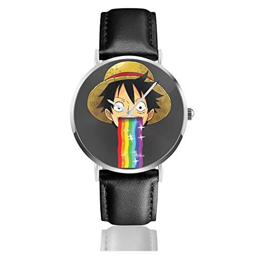 Unisex Business Casual One Piece Monkey D Luffy Puking Rainbow Snapchat Filter Uhren Quarz Leder Armbanduhr mit schwarzem Lederband für Männer Frauen Young Collection Geschenk