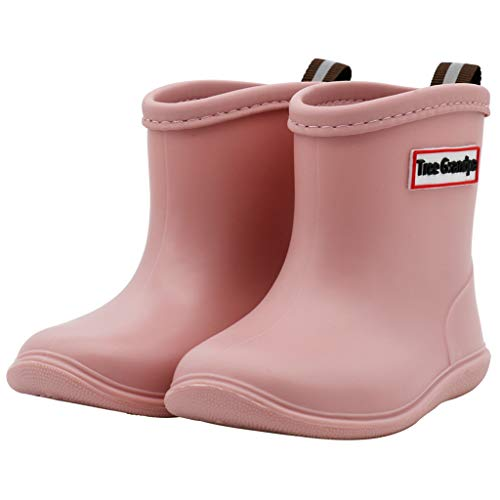 Toddler Rain Boots Baby Rain Boots Short rain Boots for Toddler Easy-on Lightweight and Waterproof Pink