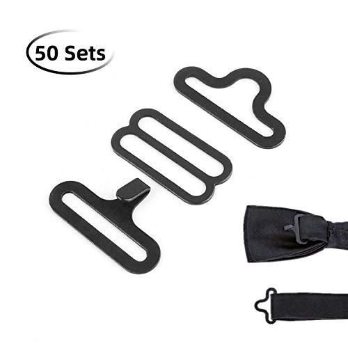 Bow Tie Hardware Set van 50 verstelbare dragers, dashaken, vlinderdassen of dassen clips, bevestigingselementen, om verstelbare bandjes op vliegen/stropdassen (zwart) te maken