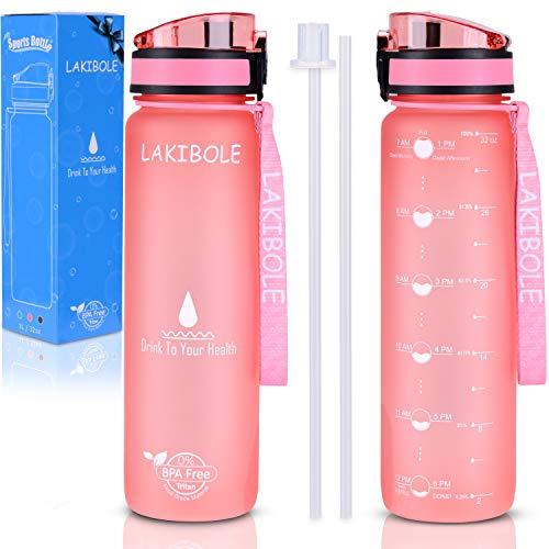 LAKIBOLE Botella de Agua de 32 onzas, sin BPA, con marcadores de Tiempo, Botella de Agua Tritan Gym para Fitness, entusiastas del Aire Libre, a Prueba de Fugas y Duradera, 32 oz, Rosado