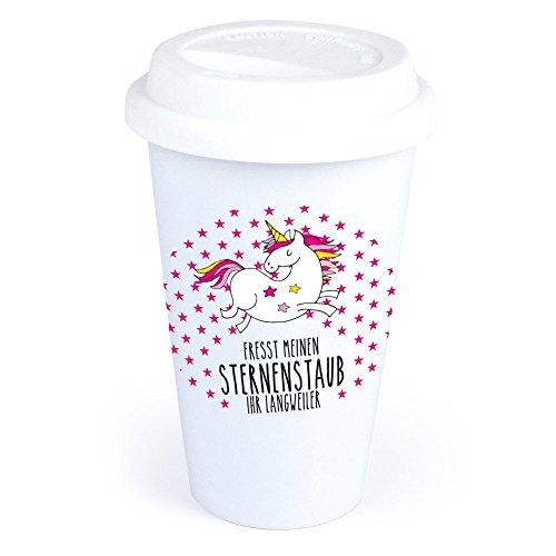 4you Design Coffee-to-Go-Becher Einhorn-Motiv Fresst Meinen Sternenstaub Ihr Langweiler aus Keramik – *spülmaschinengeeignet* originelle Geschenkidee – Geburtstagsgeschenk – Kaffeebecher mit Spruch