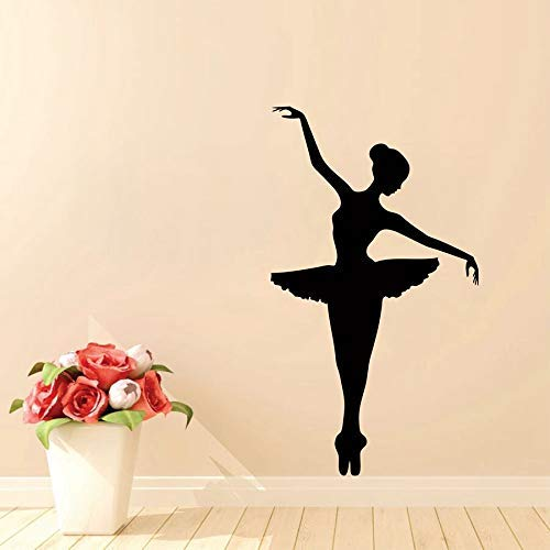 Ballerina Muursticker Dansende Ballet Vinyl Muursticker Grafische Sticker Verwijderbare Art Mural Yoga Kamer 56x35cm