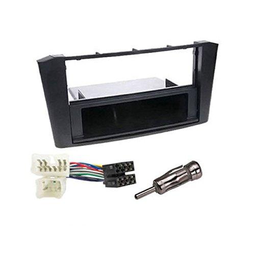 KIT Montage autoradio Façade Cadre de Radio stéréo avec Vide Poche 1 DIN Toyota avensis T25 2003-2007 + ISO + Adaptateur antenne