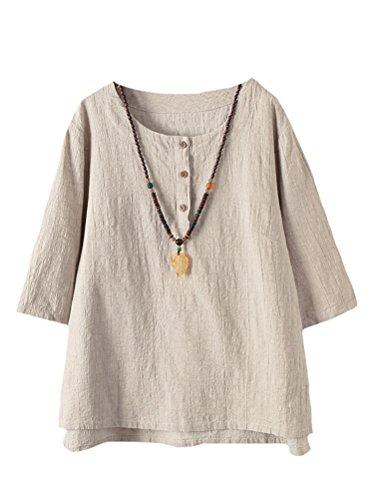 Vogstyle Femmes T-Shirts Coton Lin Chemise Chic Simple Haut Jacquard Tops Tunique Abricot L
