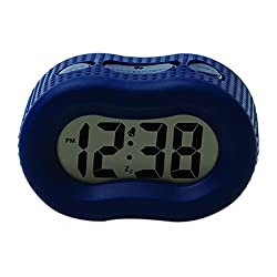 Timelink Smartlight Blue Digital Rubber Outer Shell Alarm Clock for Bedrooms Travel, for Kids Boys, Simple Operation, Automatic Green Smart Night Light Dimmer, Large 1 Display, Snooze, Small