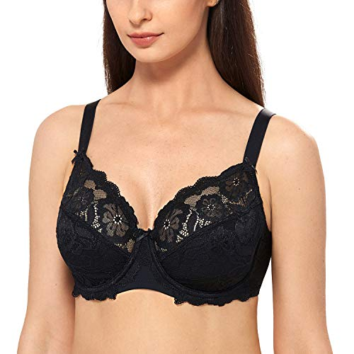 DELIMIRA Women's Full Coverage Non-Foam Floral Lace Plus Size Underwired Bra Black 36J