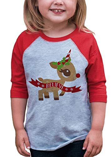 7 ate 9 Apparel Girl's Christmas Unicorn Red Baseball Tee Youth Medium