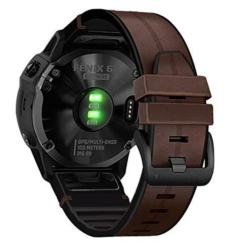 AHayo Leather Watch Strap for Fenix 6 Pro/Sapphire, QuickFit 22mm Genuine Leather with Wavy Silicone Sweatproof Wrist Strap for Garmin Fenix 5/5 Plus,Approach S62/S60,Instinct (Coffee)