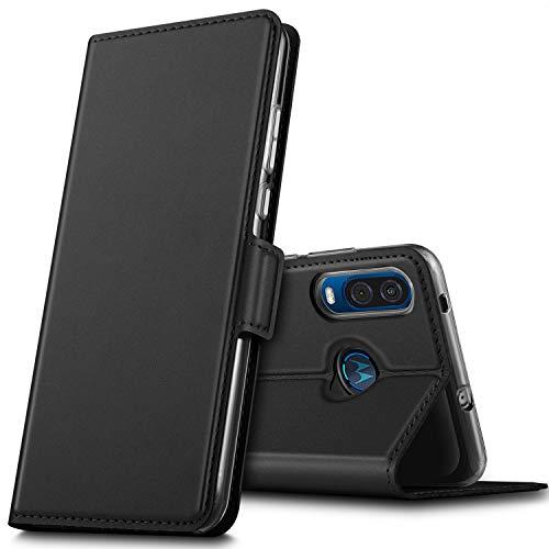 GEEMAI für Motorola One Vision Hülle, für Moto P40 Hülle, handyhüllen Flip Hülle Wallet Stylish mit Standfunktion & Magnetisch PU Tasche Schutzhülle passt für Motorola One Vision Phone, Schwarz
