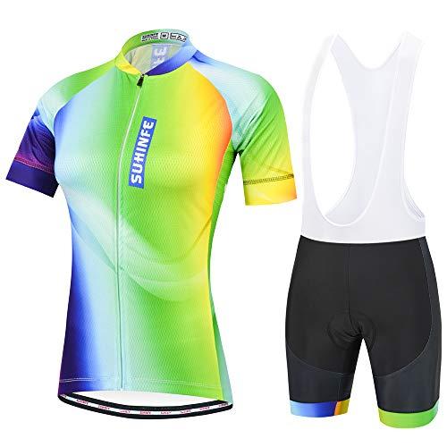 SUHINFE Ciclismo Maglia Donna, Maglia Ciclismo Mezza Manica e Salopette con Pantaloncini Imbottito in Gel 3D, Estivo, L