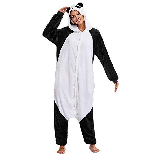 Damen Jumpsuit Panda Kostüm Overalls Flanell Schlafanzug Cartoon Tier Jogginganzug Reißverschluss Ganzkörperanzug Karneval Schwarz Weiß Einteiler Nachtwäsche Pyjamas (S/(EU=34), Weiß)