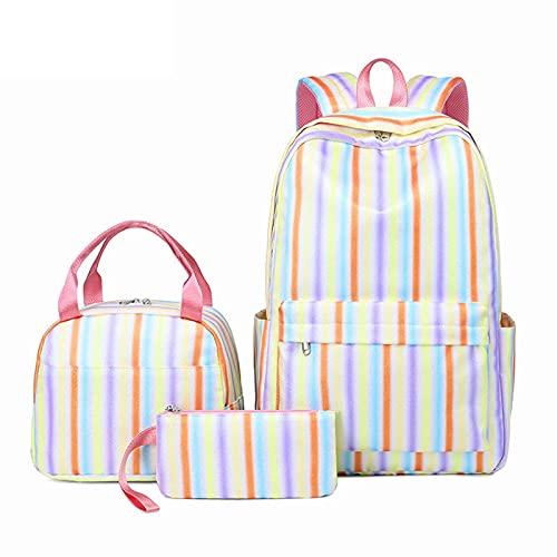 Kinderrucksack - Rainbow Gradient Streifen 3D gedruckt Schultasche Set Nette Kinder Rucksack und beleidigte Lunchbox Pen Fall Multifunktions 3 in 1 (Color : 05)