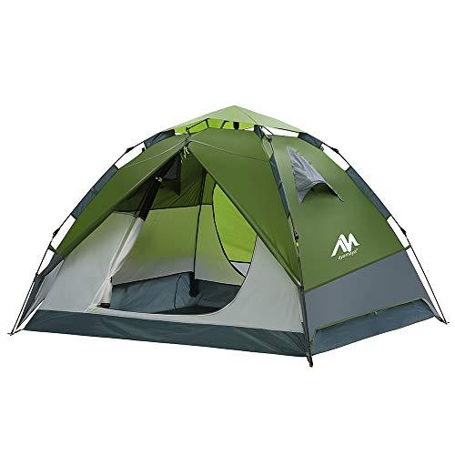 Zelt 3-4 Personen Wasserdicht, Sekundenzelt Campingzelt Kuppelzelt Wurfzelt mit Quick-Up-System, 2 Türen, Doppelwandig Schnellaufbauzelt Festival Pop Up Zelt für Camping Wandern Reisen Strand