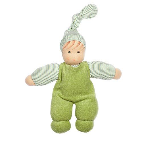 Nanchen Puppe Wuschel 161417 Bio-Baumwolle/Bio-Schurwolle, Grün, Gr. 26 cm