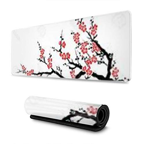 Colorful Ink Cherry Blossom Design Pattern XXL XL Large Gaming Mouse Pad Mat Long Extended Mousepad Desk Pad Non-Slip Rubber Mice Pads Stitched Edges (31.5x11.8x0.12 Inch)
