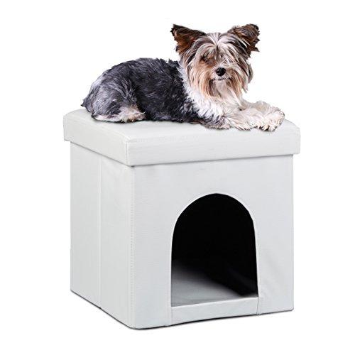 Relaxdays Taburete Casa para Perros Plegable, Piel sintética, Blanco, 38 x 38...
