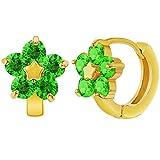 18K chapado en oro cristal verde Flor Aro Pendientes niñas adolescentes 0,47'