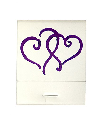 50 White Matches Printed Hearts in Metallic Purple Matchbooks Wedding, Anniversary, Birthday, Party, Your Choice of Color of Print