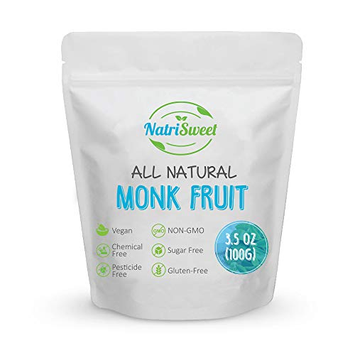 NatriSweet Monk Fruit Extract   100% Pure Monk Fruit Powder – No Filler, Erythritol, or Xylitol   Zero-Carb, Low Glycemic, Paleo, & Keto Diet Sugar Substitute   Gluten-Free Powdered Sweetener   3.5oz