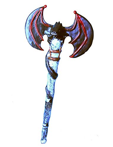 Halloweenia - Kostüm Accessoires Zubehör Doppelseitige zweischneidige AXT im Fledermaus-Stil, Double bladed Axe, perfekt für Halloween Karneval und Fasching, Blau