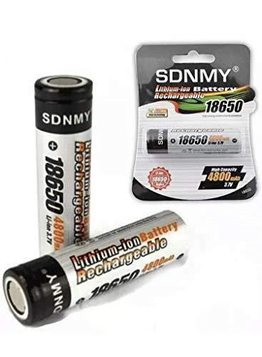 Pack 2 Pilas Baterías 18650 Recargables sin tetón Li-Ion Litio 4800mAh 3,7V SDNMY