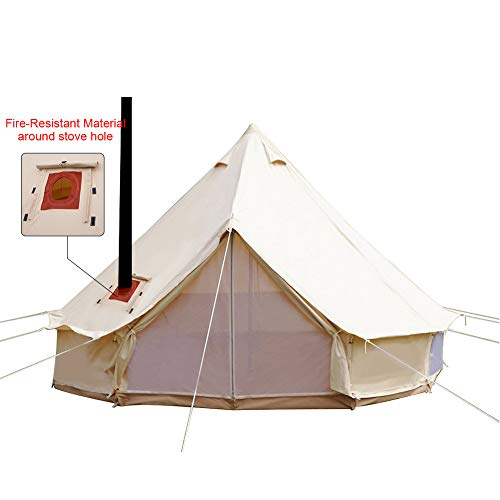 PlayDo 4-Season Waterproof Cotton Canvas Bell Tent Large Glamping Wall Tent with Stove Jack Hole and Power Cable Inlet