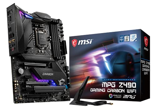 MSI MPG Z490 GAMING CARBON WIFI Scheda Madre Gaming (ATX, 10 Gen Intel Core, LGA 1200 Socket, DDR4, SLI/CF, Dual M.2 Slots, USB 3.2 Gen 2, Wi-Fi 6, DP/HDMI, Mystic Light RGB)