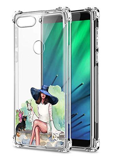 Suhctup Coque Filles Compatible pour Xiaomi Redmi 7,Etui [Antichoc Airbag] Transparent Silicone TPU Souple Mode Motif Crystal Housse de Protection Case pour Xiaomi Redmi 7,Filles 1